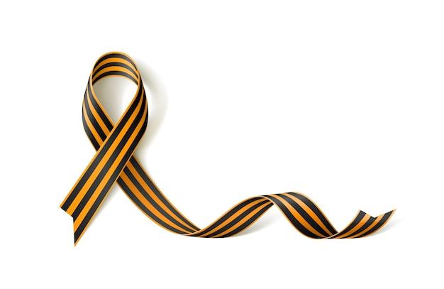 Estandarte blanco con cinta negra y dorada de st george cinta roja realista