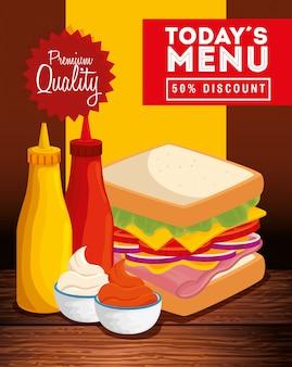 Estandarte de calidad premium con deliciosa comida