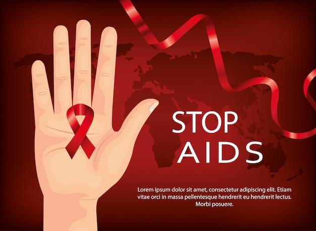 Estandarte del día del sida de parada con mano y cinta