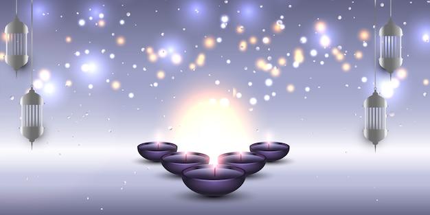 Estandarte de diwali con linternas colgantes y lámparas de aceite.
