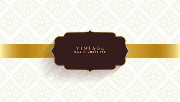 Estandarte dorado de invitación floral vintage