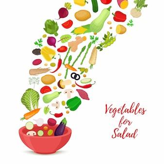 Estandarte con ensalada de verduras, productos en rodajas.