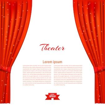 Estandarte con escenario de teatro y telón rojo.