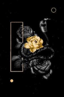 Estandarte floral con una serpiente