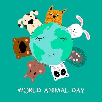 Estandarte con gato, perro, panda, oso, hipopótamo, conejo y erizo.