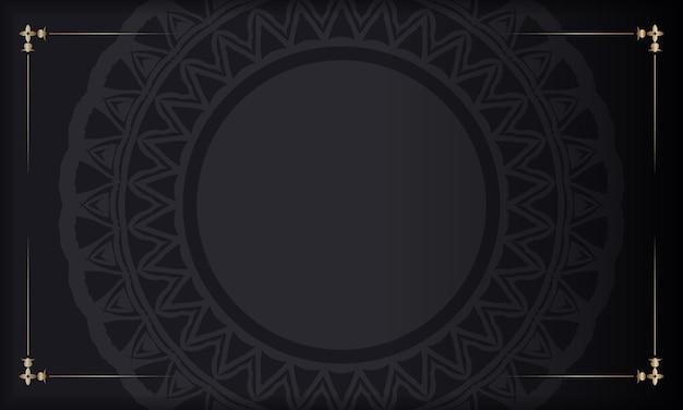 Estandarte negro con adornos y lugar para tu logo. plantilla de fondo de diseño imprimible con patrones abstractos.