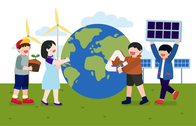 Estandarte de niños ayuda a plantar árboles.