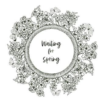 Estandarte redondo con marco de cuerda y diminuto resorte y mariposas, lirios del valle. ilustración dibujada a mano.