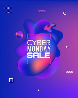 Estandarte de ventas. black friday, cyber monday y autumn sale. formas líquidas de colores. elementos gráficos modernos abstractos en la oscuridad. .