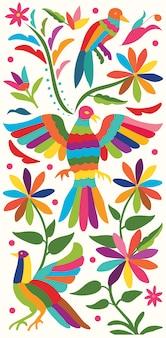 Estandarte vertical mexicano colorido, estilo bordado textil de tenango, hidalgo; méxico