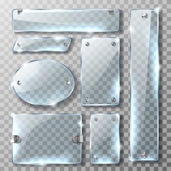 Estandarte de vidrio con soporte de metal y tornillos.