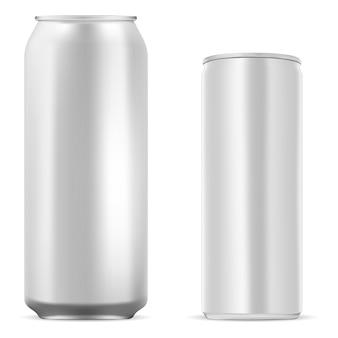 Estaño de aluminio en blanco. lata de bebida energética. jugo, refresco