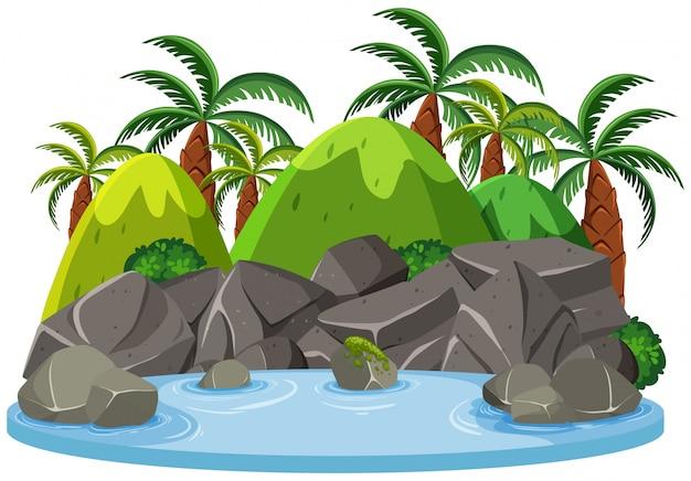 Estanque de agua de naturaleza aislada