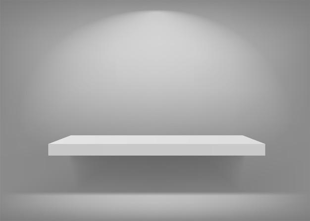 Estante blanco vacío. antecedentes para la presentación.