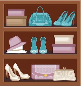 Estante con bolsos y zapatos.