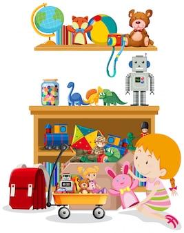Estante y caja llena de juguetes en blanco