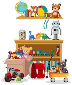Estante y caja llena de juguetes sobre fondo blanco.
