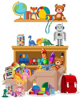 Estante y cajas llenas de juguetes.