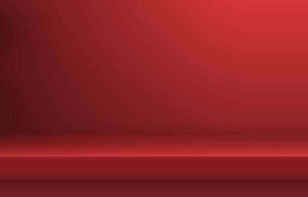 Estante de color rojo vacío