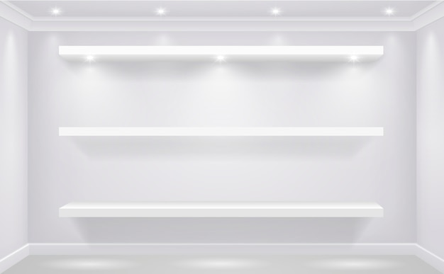 Estante de escaparate para productos de línea blanca iluminado sobre el fondo de una pared blanca de la tienda. gráficos vectoriales