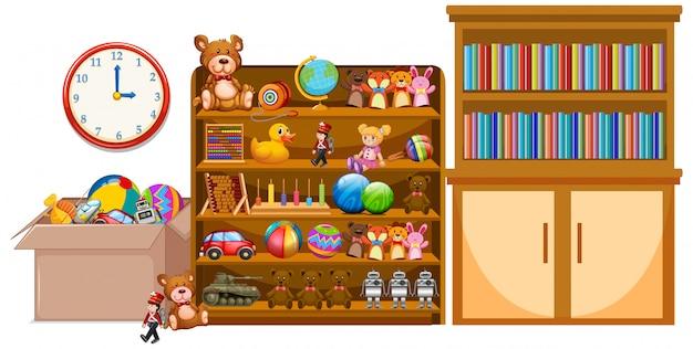 Estante y estantería llena de libros y juguetes.