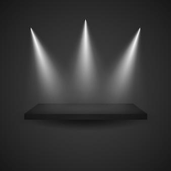 Estante de exhibición vacío oscuro con los proyectores