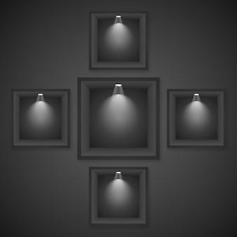 Estante de exhibición vacío con los proyectores