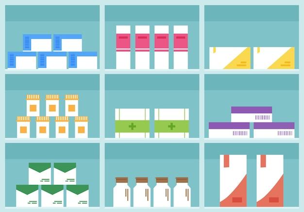 Estante de farmacia, tienda de medicamentos, cajas de dibujos animados, píldoras y contenedores.