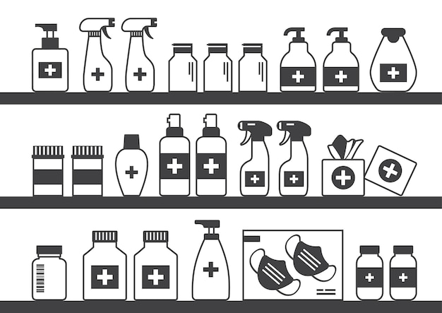 Estante de farmacia, tienda de medicina de escaparate, botellas negras, cajas de pastillas y envases.