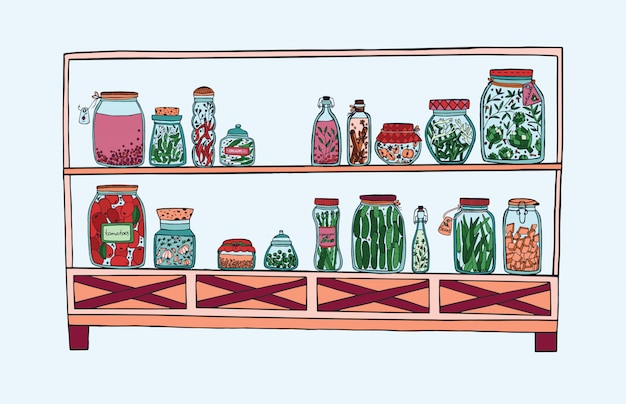 Estante con frascos en escabeche con verduras, frutas, hierbas y bayas en los estantes, comida marinada en otoño. ilustración colorida