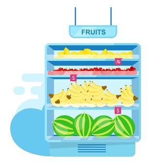 Estante con frutas en almacén plano. agricultura y jardinería. frutas maduras frescas en el puesto de la tienda. surtido del mercado de agricultores. comida sana en supermercado, gran variedad de productos orgánicos.