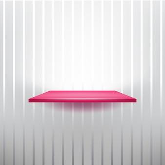 Estante de glamour vacío rosa rojo sobre el fondo gris despojado