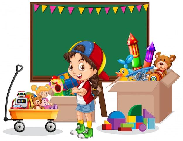 Estante lleno de libros y juguetes en blanco