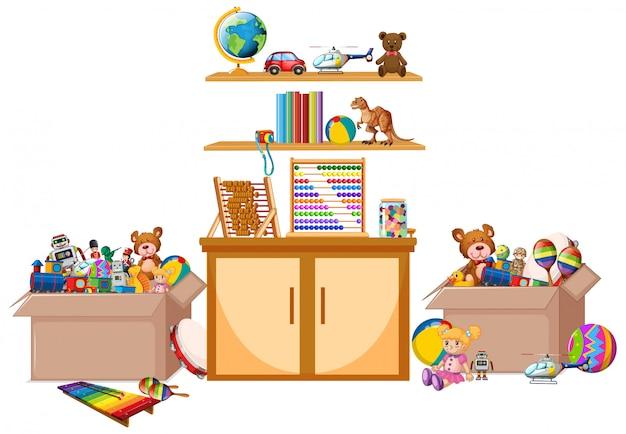 Estante lleno de libros y juguetes sobre fondo blanco.