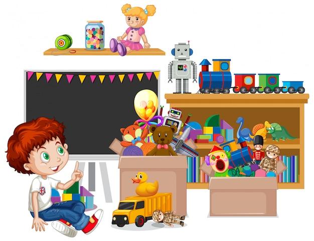Estante lleno de libros y juguetes.