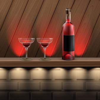 Estante de madera marrón de vector con retroiluminación roja, botella de vino y copa de cóctel sobre fondo de ladrillo