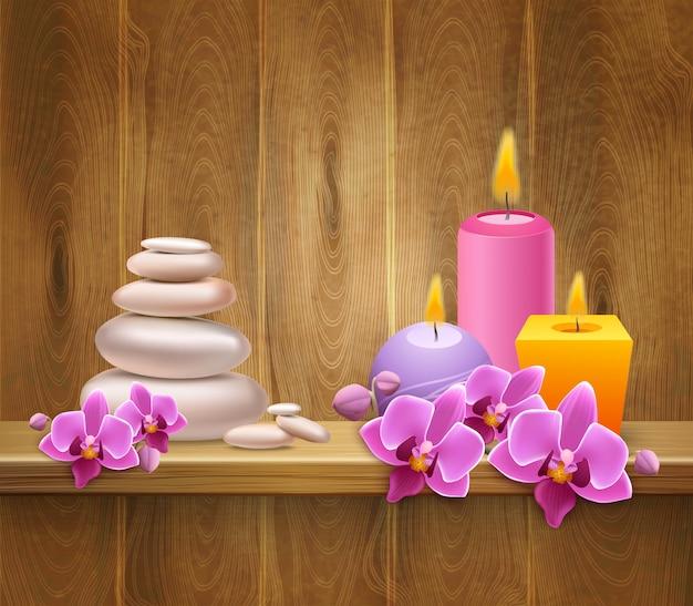 Estante de madera con piedras de equilibrio y velas