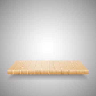 Estante de madera vacío sobre fondo degradado