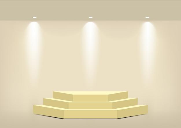 Estante de oro geométrico vacío realista para interior para mostrar producto
