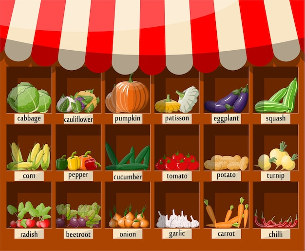 Estante de supermercado de madera con verduras. puesto de mercado con toldo. productos alimenticios orgánicos frescos. pepino tomate calabaza ajo cebolla zanahoria maíz pimiento