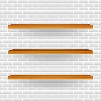 Estante de la tienda blanco vacío, estantes al por menor del marco de madera contrachapada