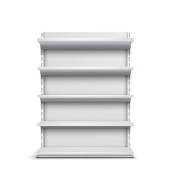 Estante de la tienda de comestibles con los estantes vacíos vector realista 3d aislado sobre fondo blanco