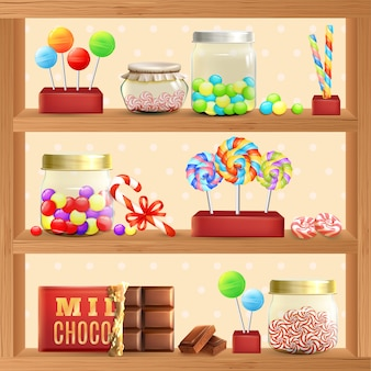 Estante de la tienda de dulces