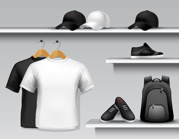Estante de la tienda de ropa deportiva