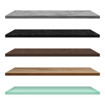 Estante vacío de diferentes materiales.