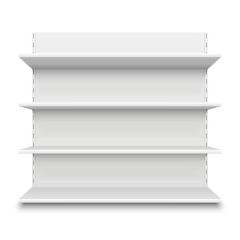 Estante vacío del supermercado. estantes en blanco blancos de la tienda al por menor para la mercancía, maqueta de la exhibición del centro comercial