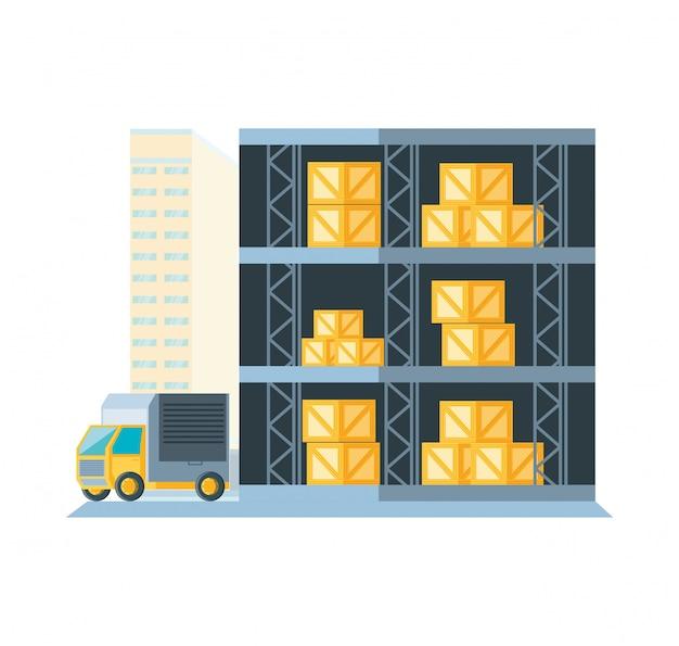 Estantería de almacén con cajas de entrega y camión.