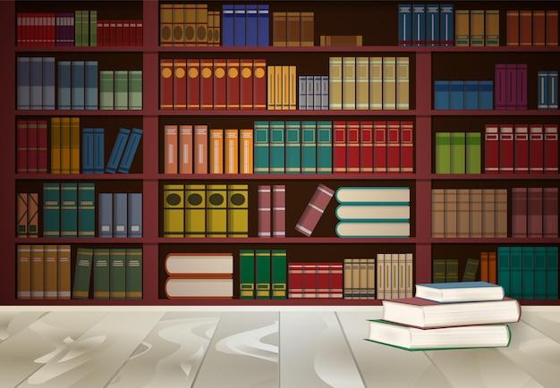 Estantería en biblioteca y libro sobre mesa de madera.