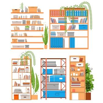 Estantería para casa y oficina, estantería, estantería para libros o soporte con libros, accesorios, papel de oficina y carpeta con vegetación, plantas en macetas. conjunto de estantes para el hogar y la oficina, ilustración plana