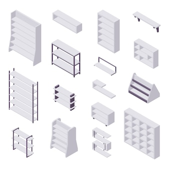 Estantería isométrica: colección de varios estuches y estantes para libros para el interior del hogar y la tienda.